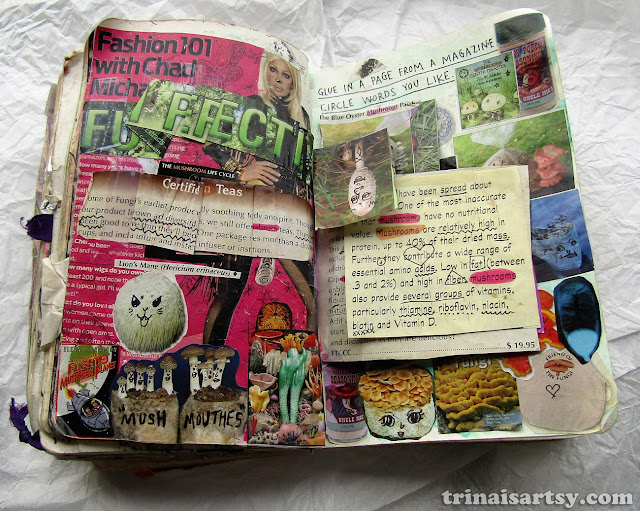 Wreck this Journal - Glue in a page from a magazine - Fungi Perfecti