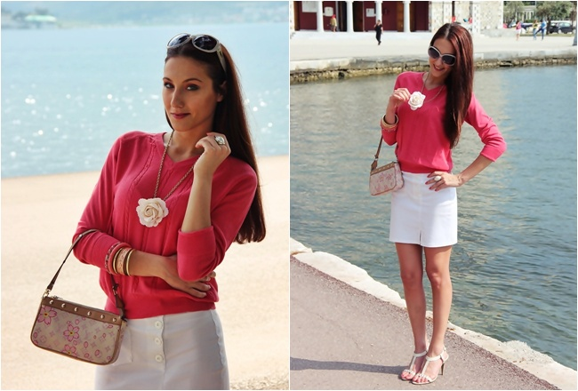 koralno pink bluza i bela mini suknja, outfit za prolece