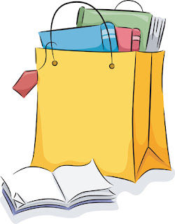 Clipart image of a bag of school supplies