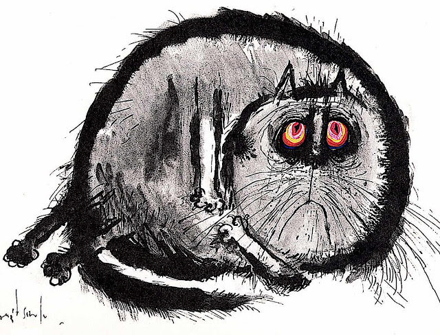 a Ronald Searle cat in color