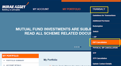Mirae Asset Mutual Fund - Online SIP Cancellation