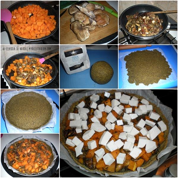 Torta rustica con zucca, porcini e primo sale di capra