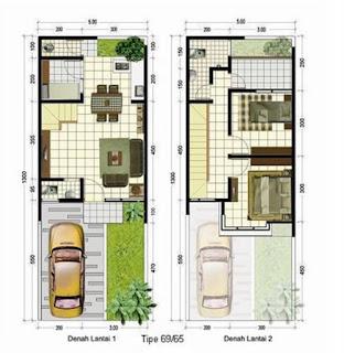 denah rumah minimalis 2 lantai type 60