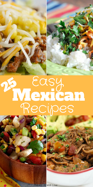 25 Easy Mexican Recipes from Served Up With Love and Indiana farming bloggers. From appetizers, soups, casseroles, and everything in between.