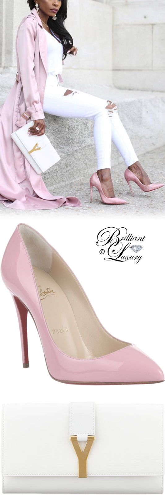 Brilliant Luxury ♦ Saint Laurent Y clutch bag #white and Christian Louboutin Pigalle Follies pumps #pink #streetstyle