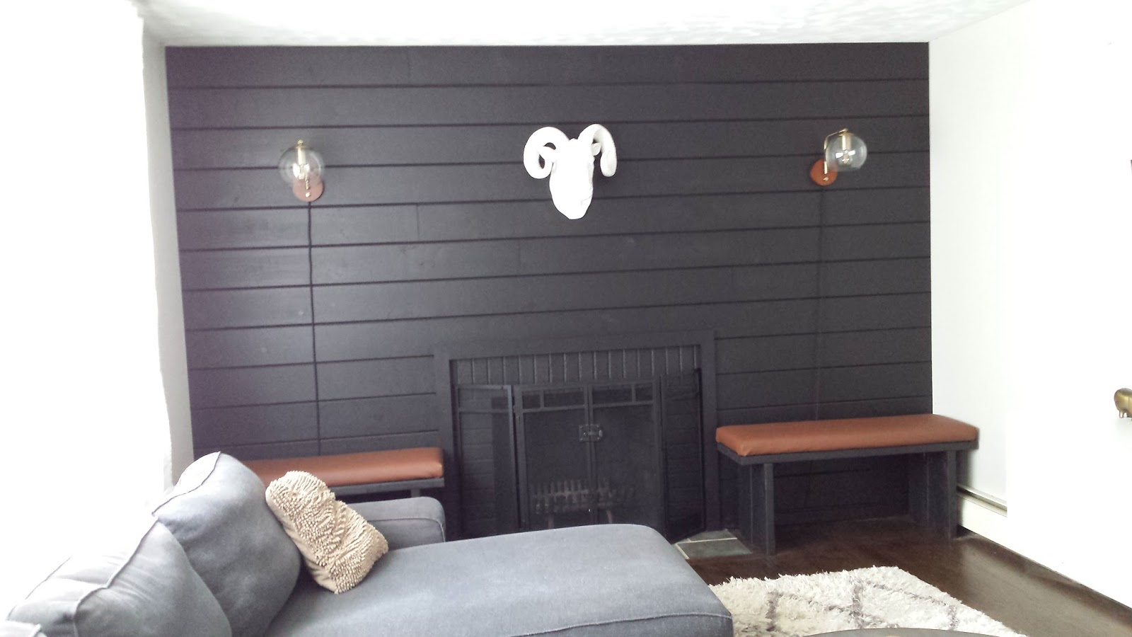 Lilly's Home Designs: Black Shiplap Fireplace Wall
