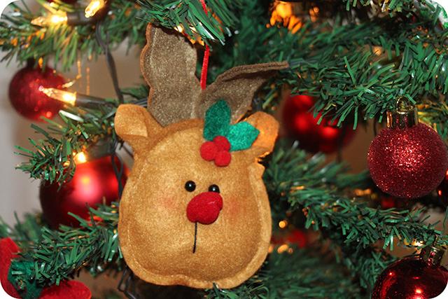 Decoração da Árvore de Natal : Rena do Nariz Vermelho de Feltro