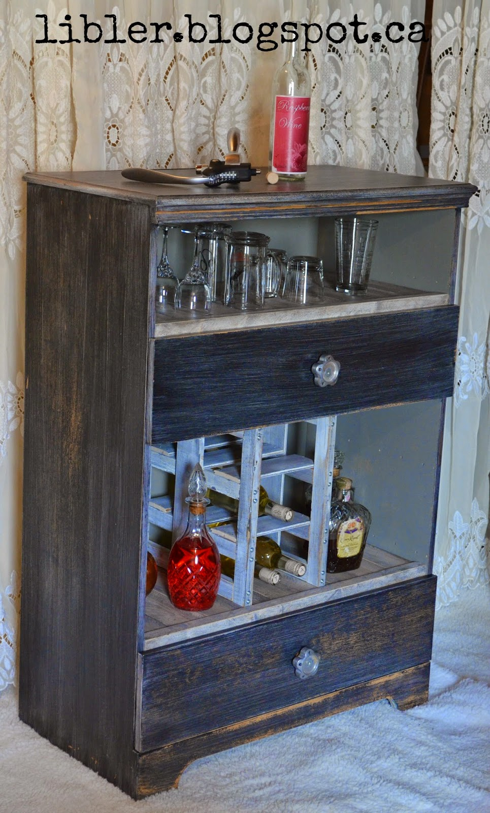 MacGIRLver: Liquor Cabinet Made Out of an Old Dresser
