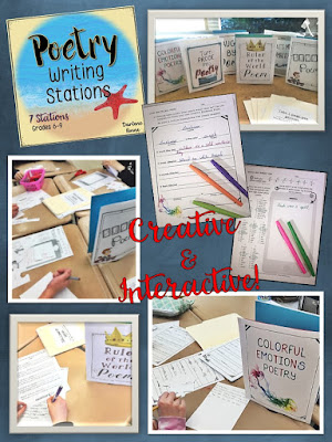 If your students think they don't like writing poetry, you've never tried using poetry template stations! My middle school kids love moving around the room and trying different poetry methods. #poems #writing #stations #poetrylessons #movement #writinglesson #middleschool #poetrytemplates #middleschoolela