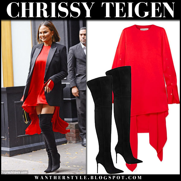 Chrissy Teigen in red draped monse dress and black boots gianvito rossi street fashion september 20