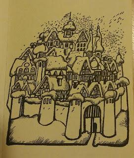 Zeichnung einer verschneiten, kleinen Stadt