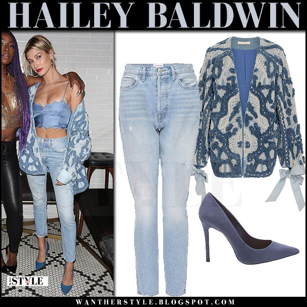 Hailey Baldwin in blue embellished jonathan simkhai jacket, cropped jeans and blue suede pumps what she wore march 2017
