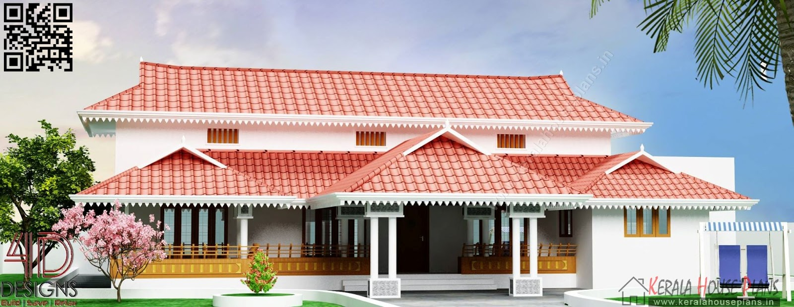 Kerala traditional home elevation design House list disign