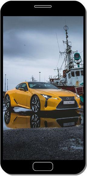 Lexus LC-500 Jaune Voiture Sportive - Fond d'Écran en QHD pour Mobile