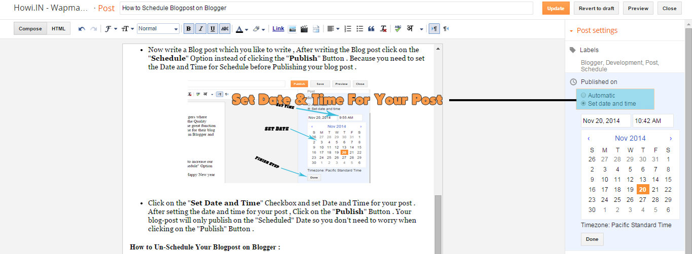 Setting Up Scheduling Date and Time For Blogger Blog Post