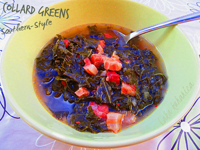 Collard greens Southern-Style by Laka kuharica: silky, tender, and flavorful collard greens.