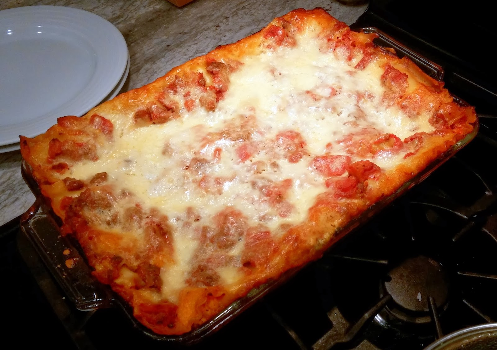 Weeknight lasagna recipe - finished lasagna