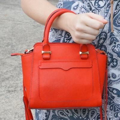 blue paisley print dress, Rebecca Minkoff red micro Avery cross body bag | awayfromtheblue