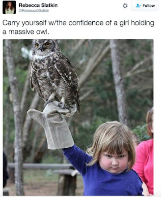 funny tweets, girl with owl, confidence, funny confidence, funny kids