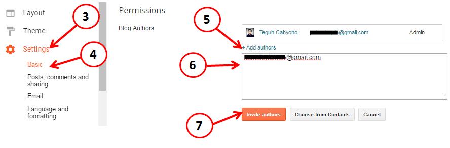 menambah author dan admin di blogspot