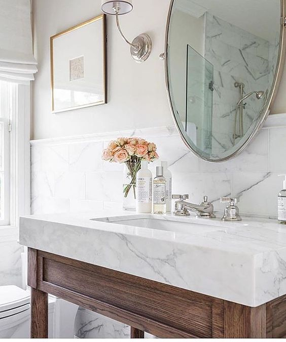 design-trends white bathroom with marble sink gorgeous