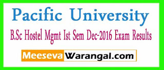 Pacific Academy Of Higher Education And Research University B.Sc Hostel Mgmt Ist Sem Dec-2016 Exam Results
