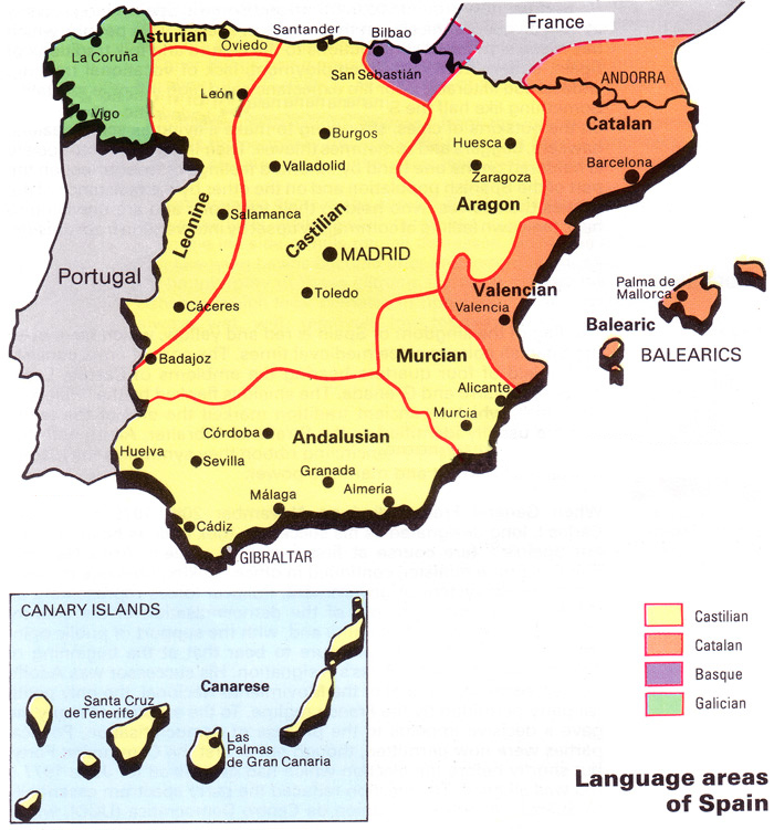 Languages In Spain Map.Not Hemingway S Spain Shared Language Shared Culture Spain S 4
