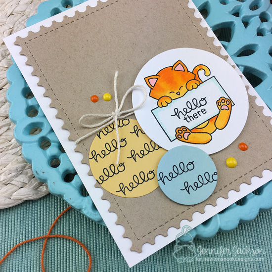 Hello Card with Kitty by Jennifer Jackson | STAMPtember Exclusive: Hello Beautiful Stamp Set by Newton's Nook Designs #newtonsnook #handmade