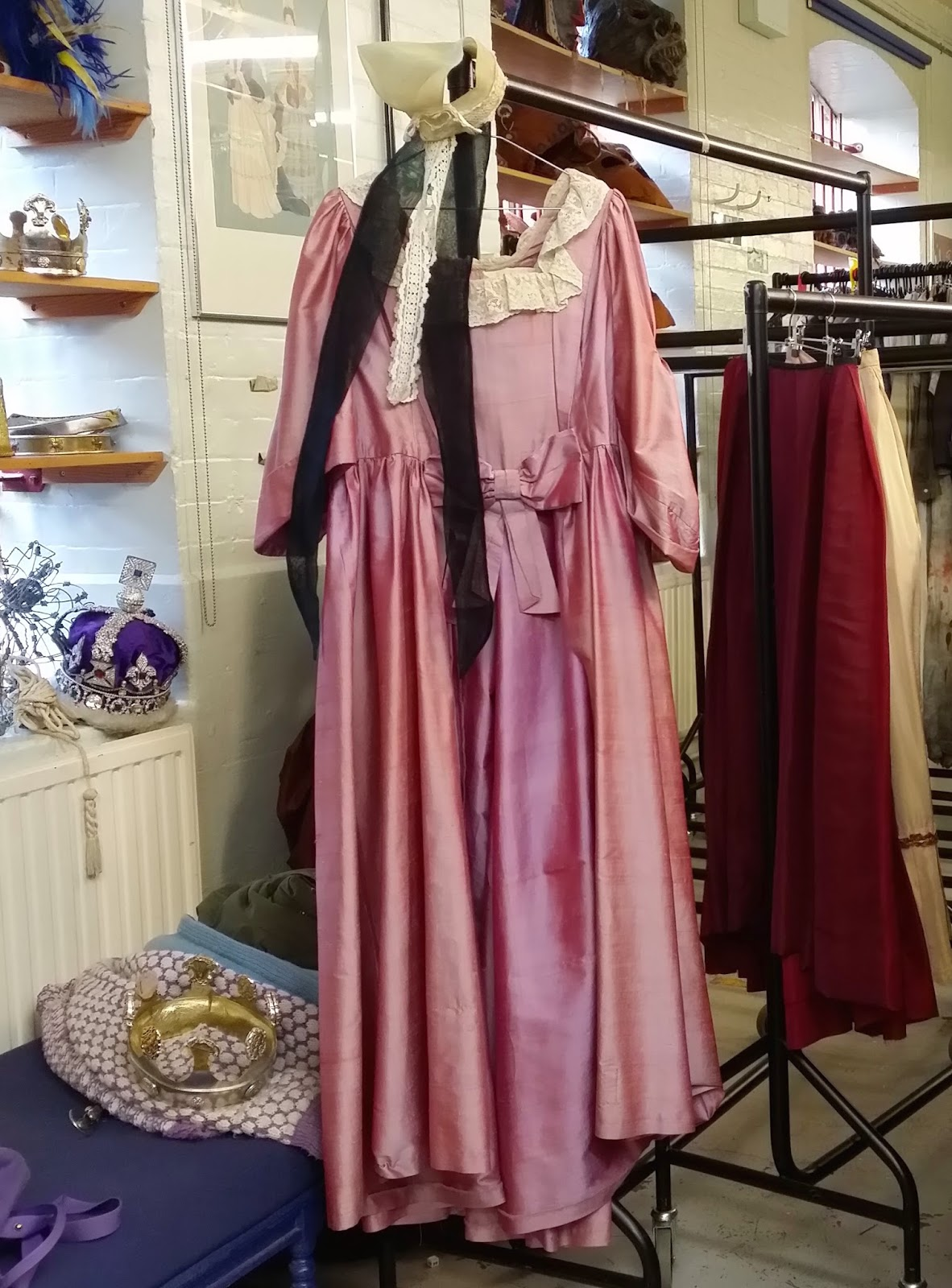Nineteenth Century Pink Silk Over Dress and a Stiff Gauze Waitress Cap