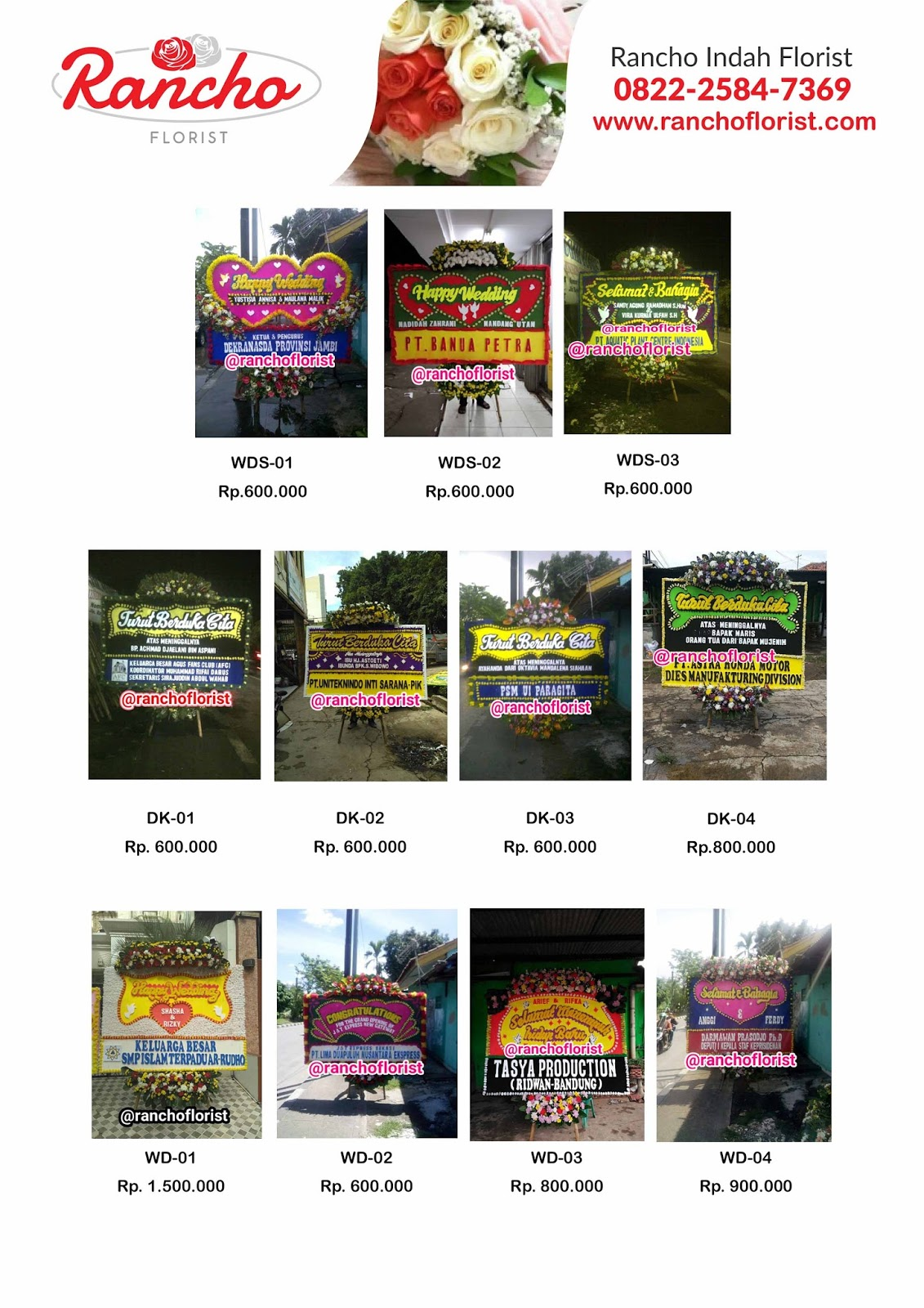 Harga Bunga Papan Happy Wedding
