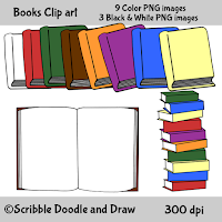 Books clip art for teachers books stacked in a pile opened books