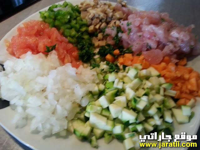 بريوات بالدجاج والخضر بالصور