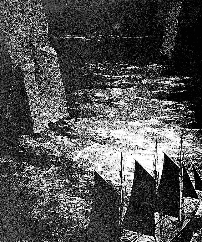 Stow Wengenroth, a ship navigating rocks