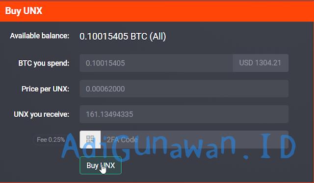 Membeli UnixCoin setelah ICO