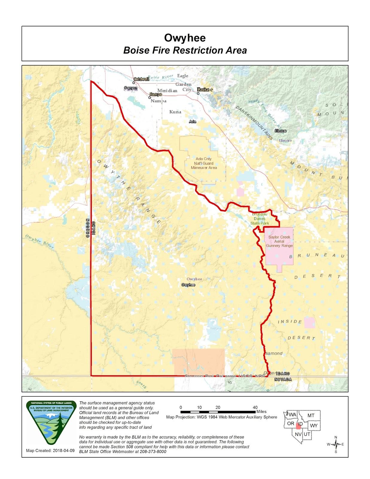Idaho Fire Information: Boise Fire Restriction Area