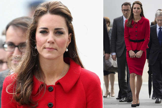 Kate with this pillar box red Luisa Spagnoli suit