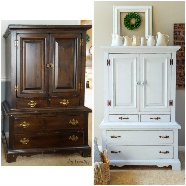 chalky painted armoire before and after