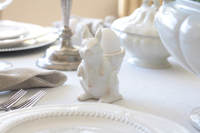 neutral easter tablescape white bunny egg cup pottery barn