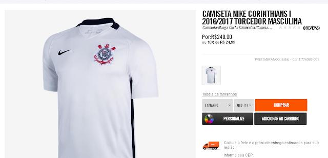 c08c9991f1 Nova camisa do Corinthians tem preço especial em site da Nike - É o ...