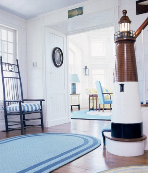 Nautical Entryway with Lighthouse Newel