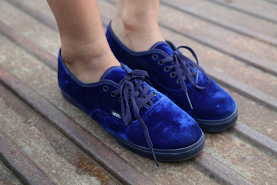 0d990233d13 I like the cute and round cut of the toe of the shoe in contrast with the  moody and dark blue of the velvet. It s not that often you see casual shoes  ...