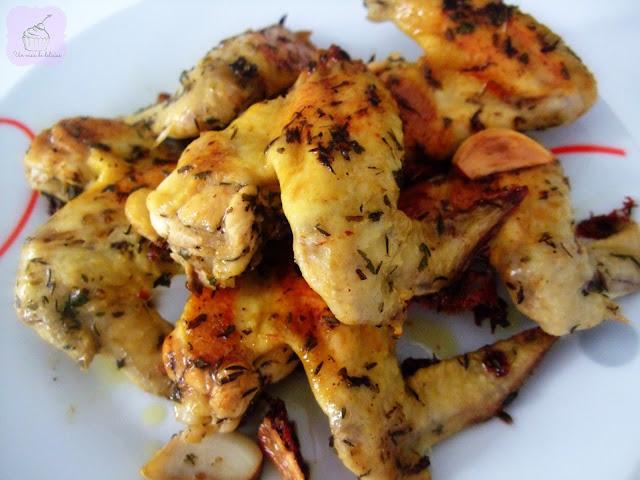 Alitas de pollo con ajo y vinagre