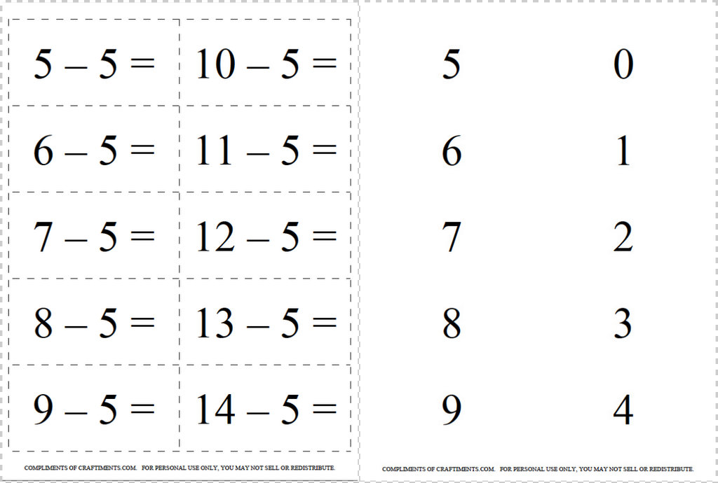 Craftiments: Free Printable Addition and Subtraction Flash
