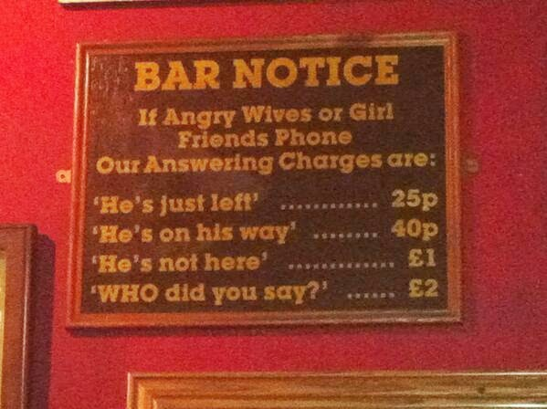 Funny Husband Wife Call Bar Notice Sign Joke Picture
