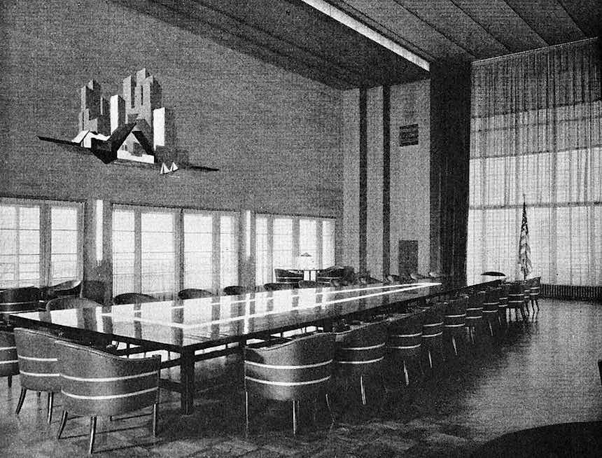 mid century municipal meeting room, photograph