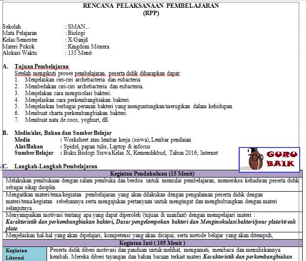 Gambar RPP biologi SMA revisi terbaru 2020