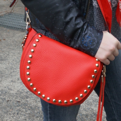 Printed leather jacket, Rebecca Minkoff red saddle bag | AwayFromTheBlue