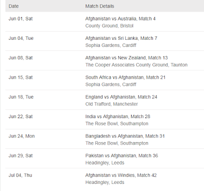 Afghanistan Cricket World Cup 2019 Schedule