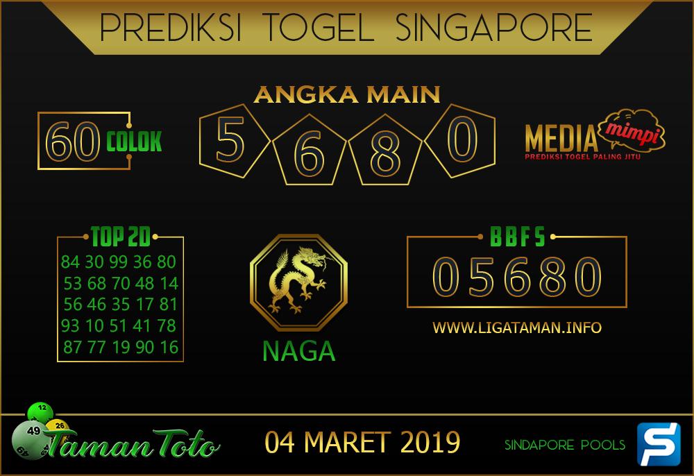 Prediksi Togel SINGAPORE TAMAN TOTO 04 MARET 2019