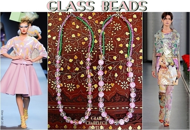 Glam Chameleon Jewelry pink and clear flower glass beads necklace